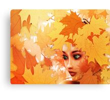 Autumn leaves and girl Canvas Print