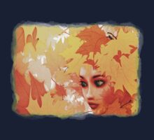 Autumn leaves and girl Kids Tee