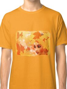 Autumn leaves and girl Classic T-Shirt