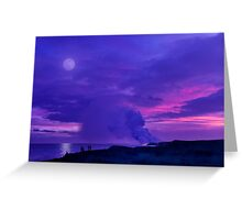 Lavender Moon over Kalapana Greeting Card