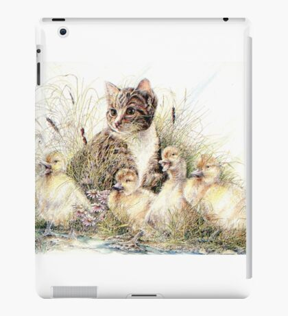 A Cat Enjoying Company From Some Friendly Ducklings iPad Case/Skin