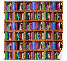 Library Bookshelf Background Pattern for Readers Poster