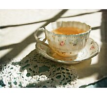 Antique China Teacup on Lace Photographic Print