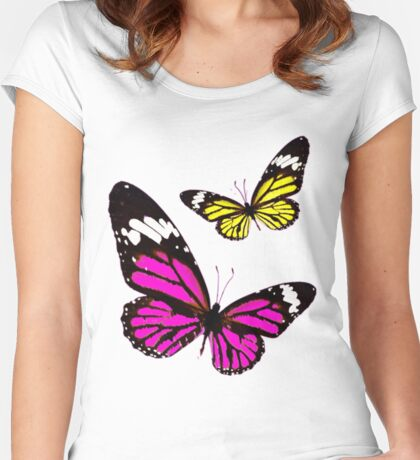 Cute unique Yellow and Pink Butterflies Women's Fitted Scoop T-Shirt