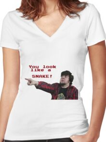 JonTron: YOU LOOK LIKE A SNAKE!  Women's Fitted V-Neck T-Shirt