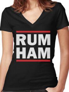 DANNY DEVITO RUM HAM Women's Fitted V-Neck T-Shirt