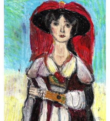Lady With Red Feather Hat(after Lawrence) Sticker