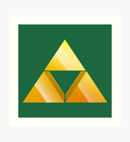 Zelda Triforce 3D - Green Art Print