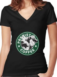 Prehistoric Coffee Women's Fitted V-Neck T-Shirt