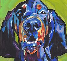 Black and Tan Coonhound Bright colorful pop dog art by bentnotbroken11