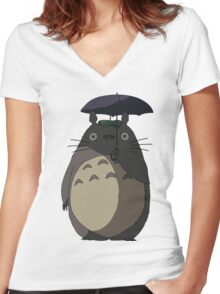 My Neighbour Totoro - Umbrella Totoro Women's Fitted V-Neck T-Shirt