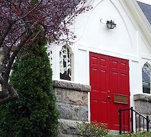 wakefield, rhode island,  red door church by Maureen Zaharie