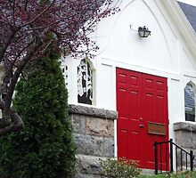 wakefield, rhode island,  red door church by Maureen Zaharie