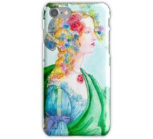 Boticelli stylized watercolor portrait iPhone Case/Skin
