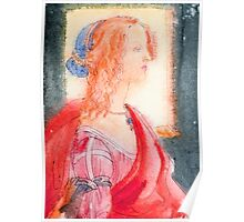 Boticelli stylized watercolor portrait II Poster