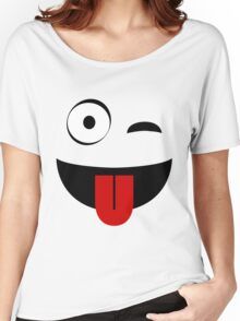 One Eye Open Wink Tongue Out  Women's Relaxed Fit T-Shirt