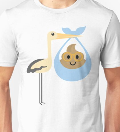 Stork with Baby Poo Emoji Nerd Noob Glasses Unisex T-Shirt