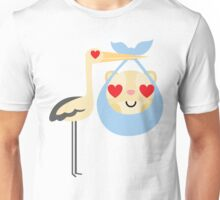 Stork with Baby Hamster Emoji Heart and Love Eye Unisex T-Shirt
