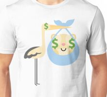 Stork with Baby Hamster Emoji Money Face Unisex T-Shirt