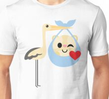 Stork with Baby Hamster Emoji Flirt and Blow Kiss Unisex T-Shirt