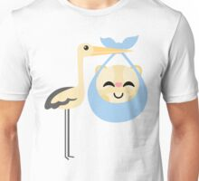 Stork with Baby Hamster Happy with Joy Unisex T-Shirt