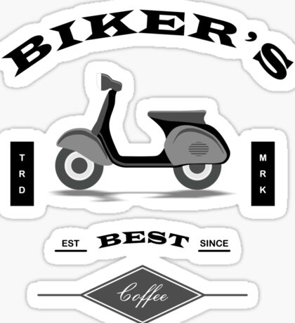 Bikers Best Coffee Espresso with Vespa Sticker