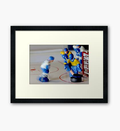 hockey goalie macro shot Framed Print