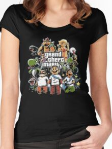 Grand Theft Mario Women's Fitted Scoop T-Shirt