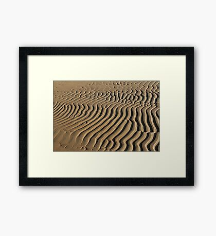 striped patterns in the sand Framed Print