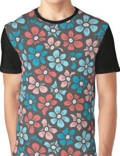 Cute blue and orange floral pattern Graphic T-Shirt