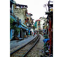 Railway tracks through Hanoi, Vietnam Photographic Print