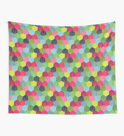 Geometric Hexie Honeycomb Colorful Wall Tapestry