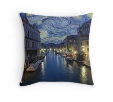 Starry Night In Venice Throw Pillow