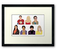 The Big Bang Theory Cast - Minimalist design Framed Print