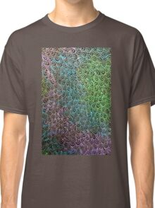 Geometric Peacock Oil Pastel Etching Classic T-Shirt