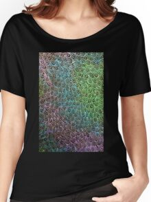 Geometric Peacock Oil Pastel Etching Women's Relaxed Fit T-Shirt