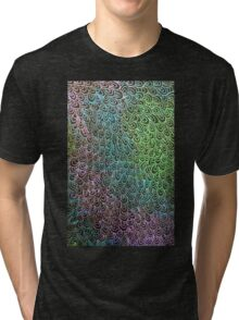 Geometric Peacock Oil Pastel Etching Tri-blend T-Shirt