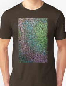 Geometric Peacock Oil Pastel Etching T-Shirt