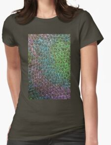 Geometric Peacock Oil Pastel Etching Womens Fitted T-Shirt