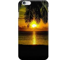 Sunset over the lagoon of Aitutaki in The Cook Islands iPhone Case/Skin