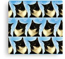Cute Tuxedo Cat Pattern  Canvas Print