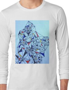 Geometric Drawing in Primary Colors; Mondrian-inspired Long Sleeve T-Shirt
