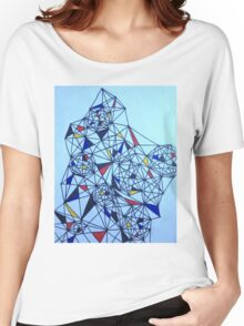 Geometric Drawing in Primary Colors; Mondrian-inspired Women's Relaxed Fit T-Shirt