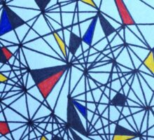 Geometric Drawing in Primary Colors; Mondrian-inspired Sticker