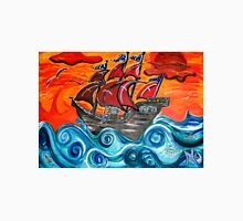 pirate ship windy sunset Unisex T-Shirt