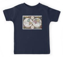Map of the world in two Hemispheres - 1730 Kids Tee
