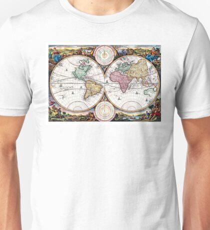 Map of the world in two Hemispheres - 1730 Unisex T-Shirt
