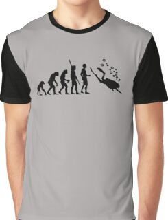 Evolution Of Scuba Diving Black Funny Graphic T-Shirt