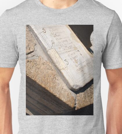 Fragment of ancient stone dial sundial closeup Unisex T-Shirt