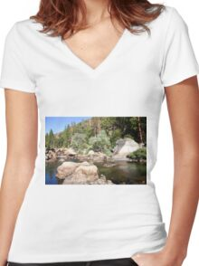 Half Dome rock at Yosemite national Park,  Women's Fitted V-Neck T-Shirt